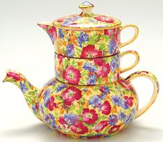 """""""Royalty (Older) Mini Teapot Stacking Set""""  Designer  ~Royal Winton~ 