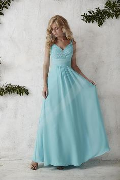 Jacquelin Bridals Canada - 22681 - Bridesmaids - This spectacular gown's gathered bodice dips down a V-neck and back with dual spaghetti straps, with a waistband accenting the full chiffon skirt. Pictured in: Aqua