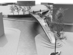 Elina Pattichi of Cypriot firm EP Architects shared with us the competition-winning proposal of a cantilevered footbridge in Pafos, Cyprus, which earlier this year, received Special Judges' Recognition in the 2013 . Landscape Model, Urban Landscape, Landscape Architecture, Landscape Design, Architecture Design, Architecture Models, Bridge Model, Arch Model, Parque Linear