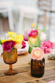 Brown Bottles & Pretty Flowers Photography: Katie Lopez Photography - katielopezphotography.com  Read More: http://www.stylemepretty.com/living/2015/05/08/a-boho-bourbon-brunch/