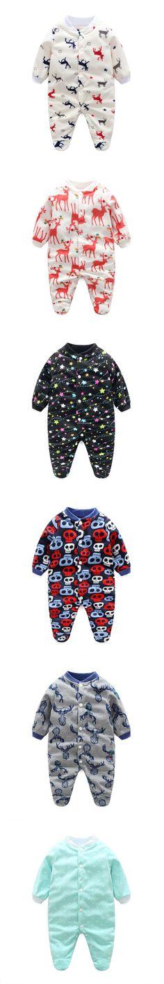 Unisex Baby Clothes Baby Boy Girl Footed Rompers Infant Animal Baby Romper Long Sleeve Fleece Sleep Clothes Baby Pajamas Newborn #babyclothing #babyboypajamas