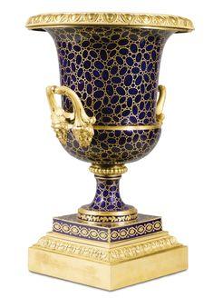 A Gilt-Bronze-mounted Sèvres Porcelain Vase Médicis à Tête de Jupiter, the porcelain circa 1780, the mountscirca 1825.