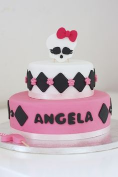 Beautifully simple two-tier Monster High cake.