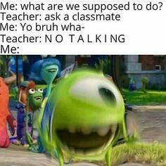 like posting random memes lol Funny Disney Memes, Funny School Memes, Crazy Funny Memes, School Humor, Really Funny Memes, Stupid Funny Memes, Funny Laugh, Funny Relatable Memes, Funny Texts