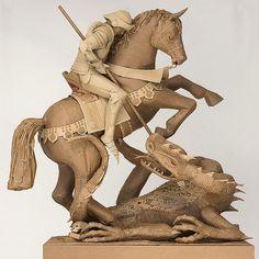 Cardboard Sculptures :セントジョージの殺害ドラゴン