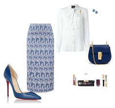 """""""Blue"""" by middletondonna ❤ liked on Polyvore featuring Wes Gordon, Christian Louboutin, Boutique Moschino, Suzanne Kalan, Chloé, Buccellati and Yves Saint Laurent"""
