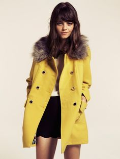 Love this Double Breasted Mustard Fur Collar Coat. Preppy Chic.
