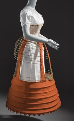 1862 British Bustle Crinoline made of wool, cotton, and steel