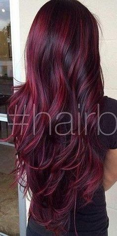 New hair color red tips haircuts 60 Ideas Hair Color And Cut, Cool Hair Color, Box Hair Colors, Hair Colour, Cool Hair Dyed, Red Burgundy Hair Color, Color Red, Easy Hairstyles For Long Hair, Pretty Hairstyles