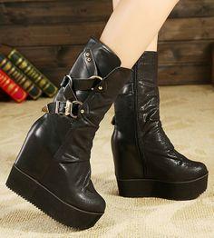 winter fashion wedges boots for women shoes Woman 2013 ladies punk martin booties high heels platform pumps belt buckle SXX36311-in Boots fr...