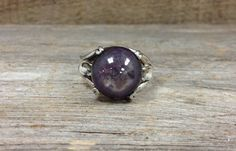 Plum Star Sapphire Ring with handmade sterling silver mounting at Renaissance Jewelers on Etsy, $60.00