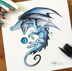 """Blue Mystic Dragon This guy was just a cute little creation that was a lot of fun!"""" -Artist Unknown by me Fantasy Creatures, Mythical Creatures, Mystic Dragon, Dragon Artwork, Dragon Drawings, Cute Dragon Drawing, Cute Dragon Tattoo, Dragon Tattoos, Drawings Of Dragons"""