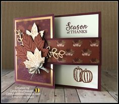 Thanksgiving Greeting Cards, Fall Cards, Holiday Cards, Fancy Fold Cards, Folded Cards, Pop Up, Pumpkin Cards, Leaf Cards, Stamping Up Cards