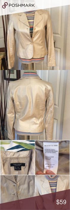 Beautiful Pearl 100% Leather Jacket Great condition, small mark on the back you can't see it. Karen Kane Jackets & Coats Blazers
