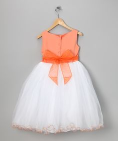 Orange & White Flower Overlay Dress - Toddler & Girls | Daily deals for moms, babies and kids