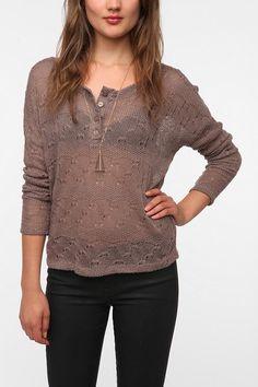 Daydreamer LA Pointelle Henley Sweater  #UrbanOutfitters $39