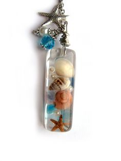 Beach Necklace - Real shells and starfish in Resin - Nautical Pendant - Ocean Life Necklace - Beach Pendant - Wire Wrapped Pendant