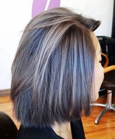 If your are going to color your grey have fun with it: brown bob with ash brown highlights