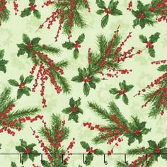 Merry, Berry, and Bright - Holly Jolly Radiant Sage Metallic Yardage
