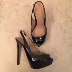 Zara black high heels Zara basic. Size:37Very sexy elegant open toe sling back high heels! Used may 4times. No return. No trade! Zara Shoes Heels