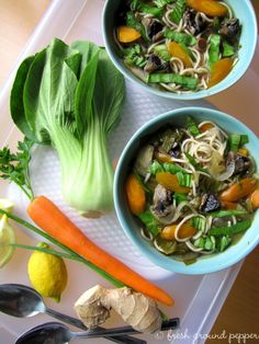 asian noodle soup with bok choy and mushrooms