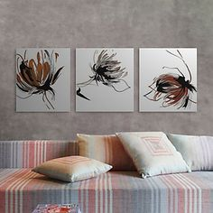Stretched Canvas Print Art Abstract Splashing Petals Set of 3 – USD $ 59.99