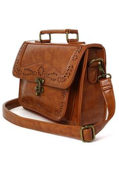 Brown Vintage Satchel Bag with Cut Out Detail - Retro, Indie and Unique Fashion
