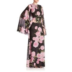 Giambattista Valli Floral Cape Maxi Dress (€3.535) ❤ liked on Polyvore featuring dresses, apparel & accessories, black, long sleeve dress, sleeved maxi dress, white maxi dress, long white dress and long dresses