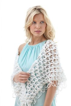 New pattern for wedding fashions on Lion Brand; #Crochet #BridalShawl in Vanna's Glamour, Diamond.  Great way to keep the shoulders warm for an outdoor wedding #CrocodileStitch