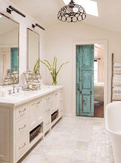 bathroom with rustic turquoise barn door, light teal, blue-green, sherwin williams reflecting pool