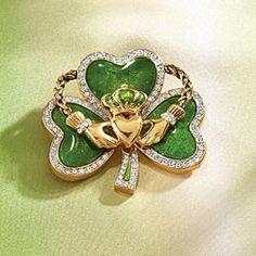 Irish Claddagh Shamrock Pin Claddagh Symbol, Claddagh Rings, Bling Jewelry, Loyalty, Sparkles, Irish, Friendship, Brooch, Love