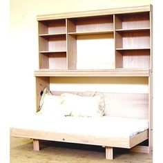 Wallbeds Contemporary Oak Horizontal Twin Murphy Bed with Hutch