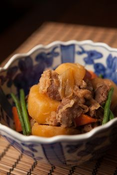 "Typical Home-Cooked Japanese Food Nikujaga, ""Meat and Potato"" Stewed in Sweet Soy Sauce"