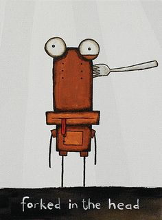 Forked in the Head by Tony Cribb - prints Cribbs, Tin Man, Oh My Love, Some Words, Kiwi, New Zealand, Robot, Study, Peace