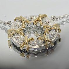 Золотое колье с бриллиантами э10кл071561 (AU 585)