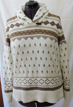 Chaps Women White And Brown Winter Sweater Size 1X 100% Cotton #Chaps #CowlNeck