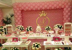 Cinderella Baby Shower, Baby Shower Princess, Pink Princess Party, Princess Birthday, Paris Birthday, Baby 1st Birthday, Baby Shower Parties, Baby Shower Themes, Shower Ideas