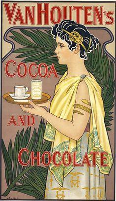 Van houten cacao et chocolat dutch cocoa chocolate food vintage poster repro