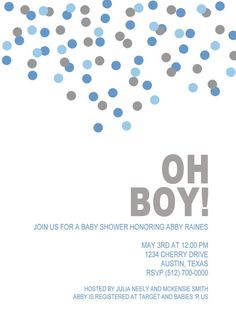 Oh Boy Baby Shower Invitation Digital File by cesttresjolie