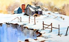Winter Barn and Pond Jigsaw Puzzle