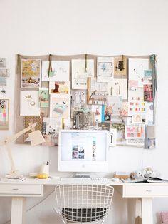 Neutral Board display: khaki fabric, creames and taupes. hang with ribbons, ornate pins.