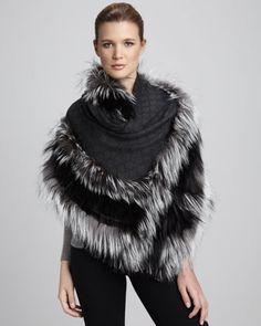 Gucci Fox-Trimmed GG Scarf - Bergdorf Goodman