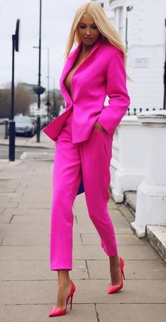 Women's Business Suits Formal female Office Work Wear 2 Piece Sets Slim Uniform Blazer Custom Made. Suit Fashion, Pink Fashion, Fashion Outfits, Womens Fashion, Fashion Trends, Pink Suits Women, Look Rose, Winter Typ, Look Blazer