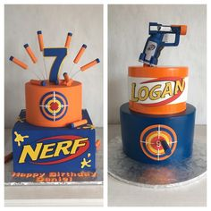 The Best Nerf Gun Birthday Cake .Parents can now easily order cartoon cakes for birthday quickly with the aid of our exact same day, midnight and express delivery services. Nerf Birthday Party, 11th Birthday, Cake Birthday, Birthday Ideas, 7th Birthday Cakes For Boys, Nerf Party Food, Birthday Candles, Nerf Gun Cake, Gun Cakes