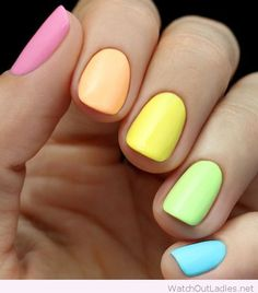Colorful neon nails idea