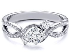 Three Stone Infinity Diamond Engagement Ring 0.68 TCW in 14K White Gold