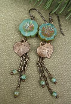 Boho Chic Earrings, Teal Blue Picasso Czech Glass, Vintaj Leaf Charm, Long…