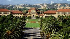 Palm Drive, the mile long, palm tree- lined entrance to Stanford University's campus in Stanford, California