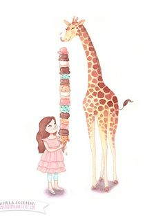 Giraffe & Girl Kid's Room Wall Art Watercolor by PamelaGoodmanArt