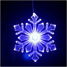"Single 6"" Lighted Outdoor Snowflake Ornament (Design 1), Blue/White Transitioning LED with 6 hr Timer"